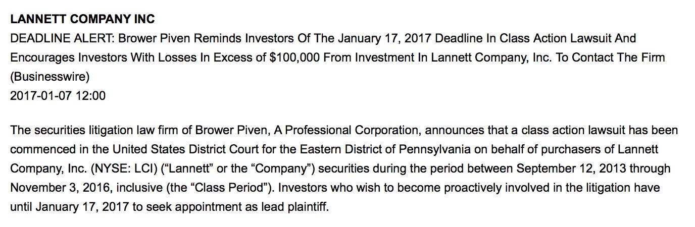 Lannett class act lawsuit